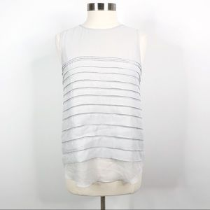 Vince Camuto Tiered Sleeveless Blouse Light Grey M